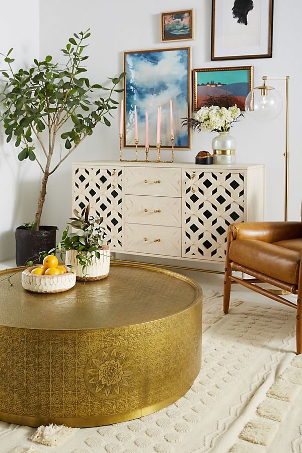 gold bohemian persian print coffee table copper furniture brown leather style sofa shop room ideas