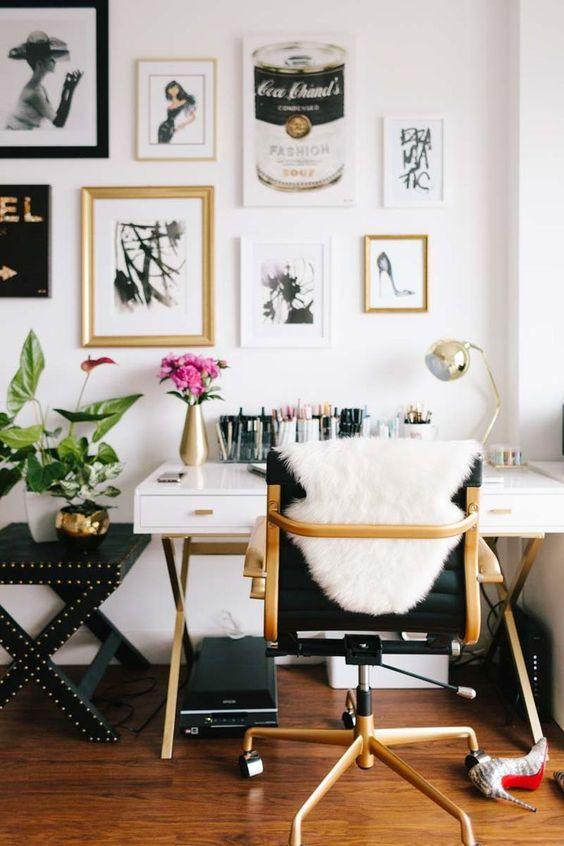 Gold White Office Decor Glam Ideas Shop Room Ideas