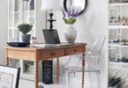 home office bohemian style small apartment work table black and white cotton carpet feminine all white ghost chair clear pvc furniture shop room ideas