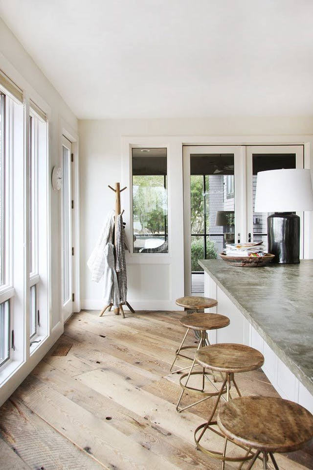 wide plank hardwood floor light wash finish rustic kitchen wood barstools farmhouse glam urban style decor inspiration dieas shop room ideas floor to ceiling windows shop room ideas