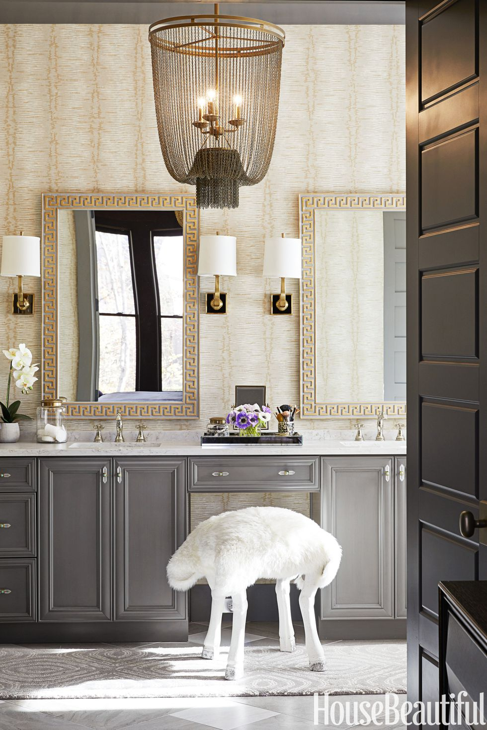 Master bath gray grey cabinet ideas glam bathroom gold accents ...