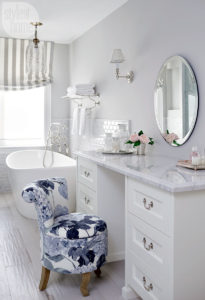 Attractive All White Glam Eclectic Glamorous Bathroom Makeup Vanity Decor Ideas Makeup  Storage Brushes Round Mirror Claw