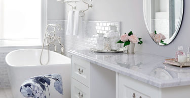 all white glam eclectic glamorous bathroom makeup vanity decor ideas makeup storage brushes round mirror claw bathtub vintage shop room ideas