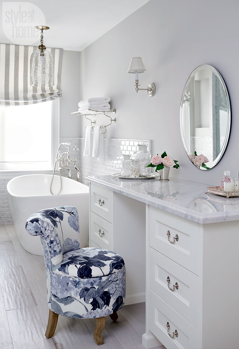 All White Glam Eclectic Glamorous Bathroom Makeup Vanity Decor Ideas Makeup  Storage Brushes Round Mirror Claw