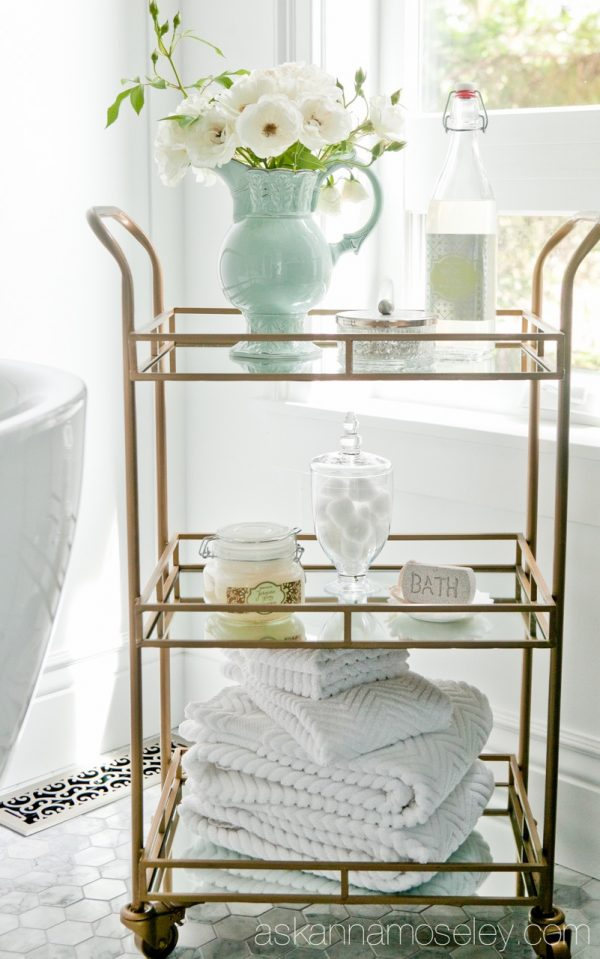 bathroom shower bar cart storage idea makeup