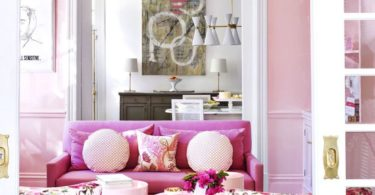 bubblegum pink and gold living room pink couch gold chandelier transitional dining room victorian georgian home style remodel shop room ideas