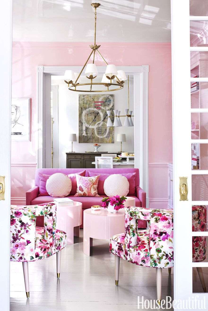 Bubblegum Pink And Gold Living Room Pink Couch Gold Chandelier Transitional Dining  Room Victorian Georgian Home