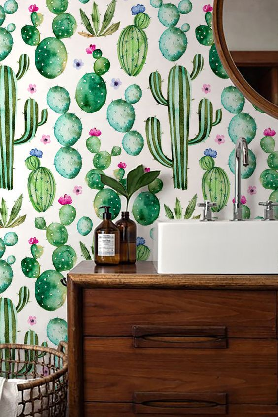 cactus print wall mural watercolor wallpaper kid's children's nursery ideas trends 2018 western theme natural gender neutral shop room ideas