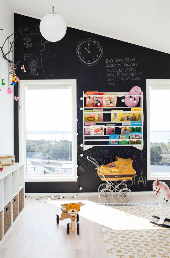 chalkboard wall for kids children room nursery chalkboard paint ideas black and white modern shop room ideas attic bedroom space