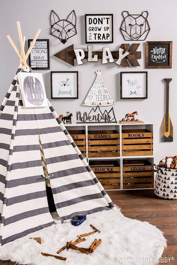 children boho bohemian tent play room nursery ideas decor wood storage idea crate boys room gender neutral shop room idea