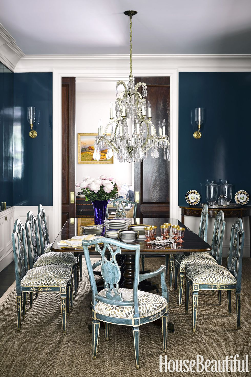 French Country Dining Room Mahogany Wood Table Refurbished Vintage Chairs Leopard Print Tulip Teal Navy Blue Walls Wainscotting Ideas