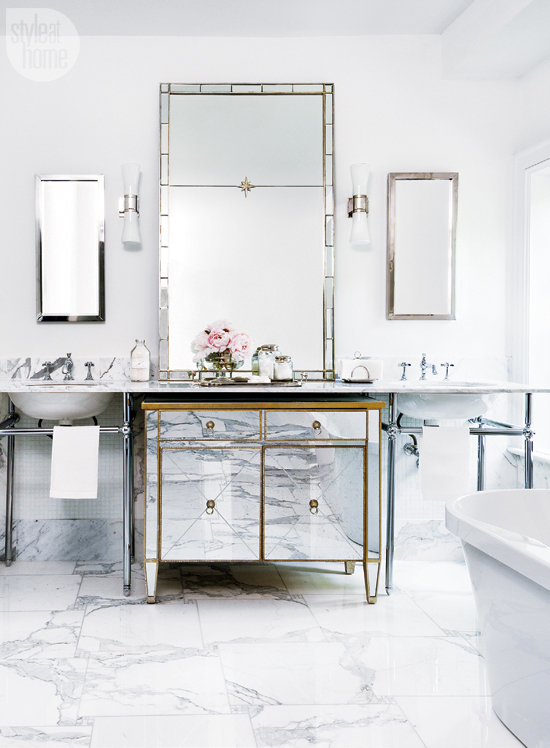 marble tiles glass gold mirror vanity all white bathroom glam eclectic traditional ideas decor storage for makeup brushes diy