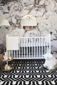 Nursery trends 2018 baby girls gender neutral room floral for Black and white rose wall mural