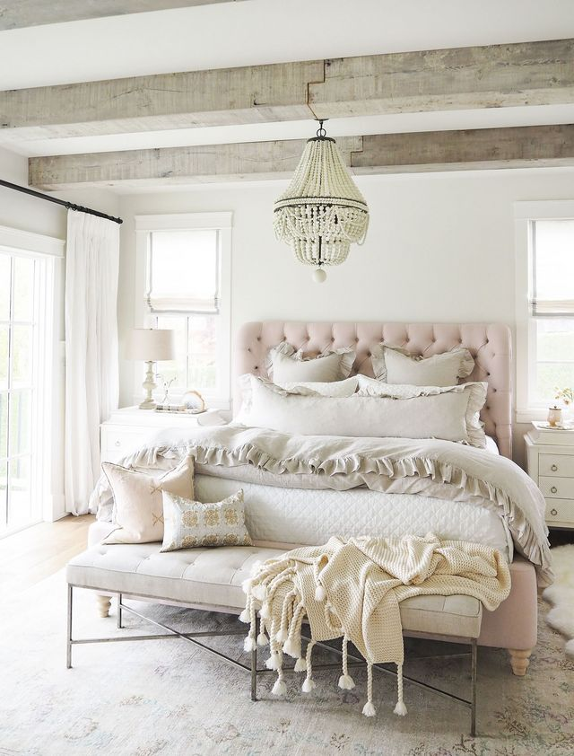 neutral pink beige and whitewash wood farmhouse style urban modern farm french girly bedroom wood beads beaded chandelier budget bedroom hacks cottage style french bedding ideas