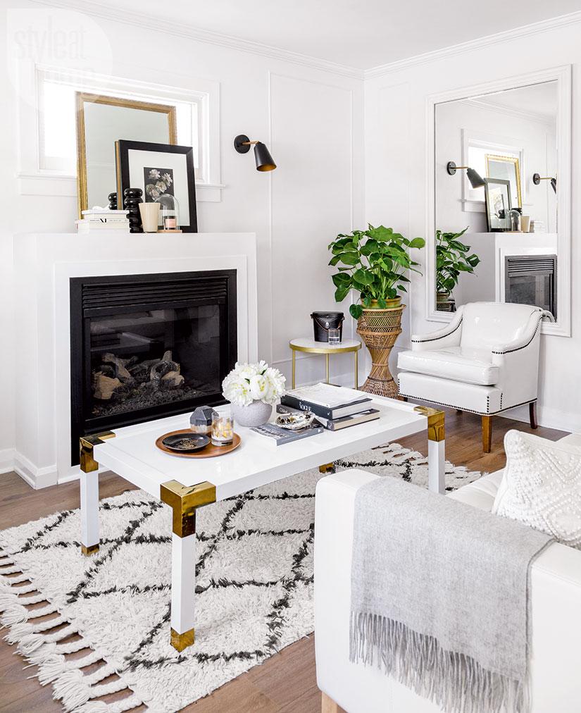 small apartment family living room idea furniture arrangement feminine parisian loft vintage girly modenr white diy gold coffee table