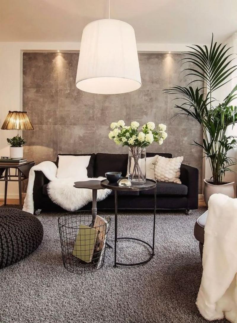 black and beige living room brown walls velvet couch white ...