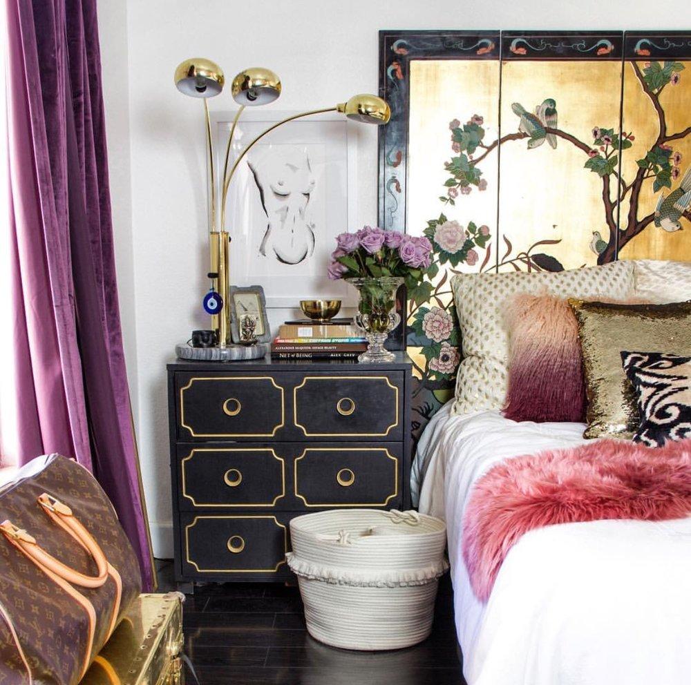 louis vuitton bag decor black white jewel color toned purple curtains bedroom black dresser diy ikea hacks glam boho bohemian look inspiration