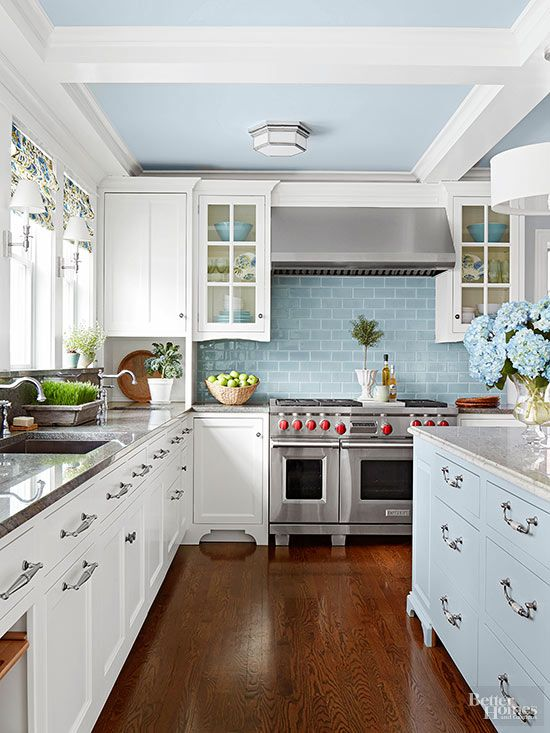 kitchen with baby blue ceiling waffle indigo large island with windows above sink classc country farmhouse inspiration dining room