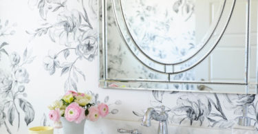 antique vintage french floral wallapaper save money bathroom oval vanity mirror all white master bath small renovation diy project white marble sink