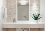 contemporary-powder-room all white cream stone accent wall ideas cobblestone washroom bathroom modern organic style living home decor ideas