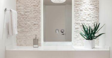 contemporary-powder-room all white cream stone accent wall ideas cobblestone washroom bathroom modern organic style living home decor ideas