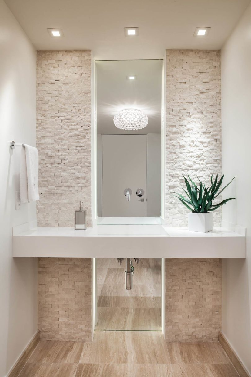 Contemporary Powder Room All White Cream Stone Accent Wall Ideas Cobblestone Washroom Bathroom Modern