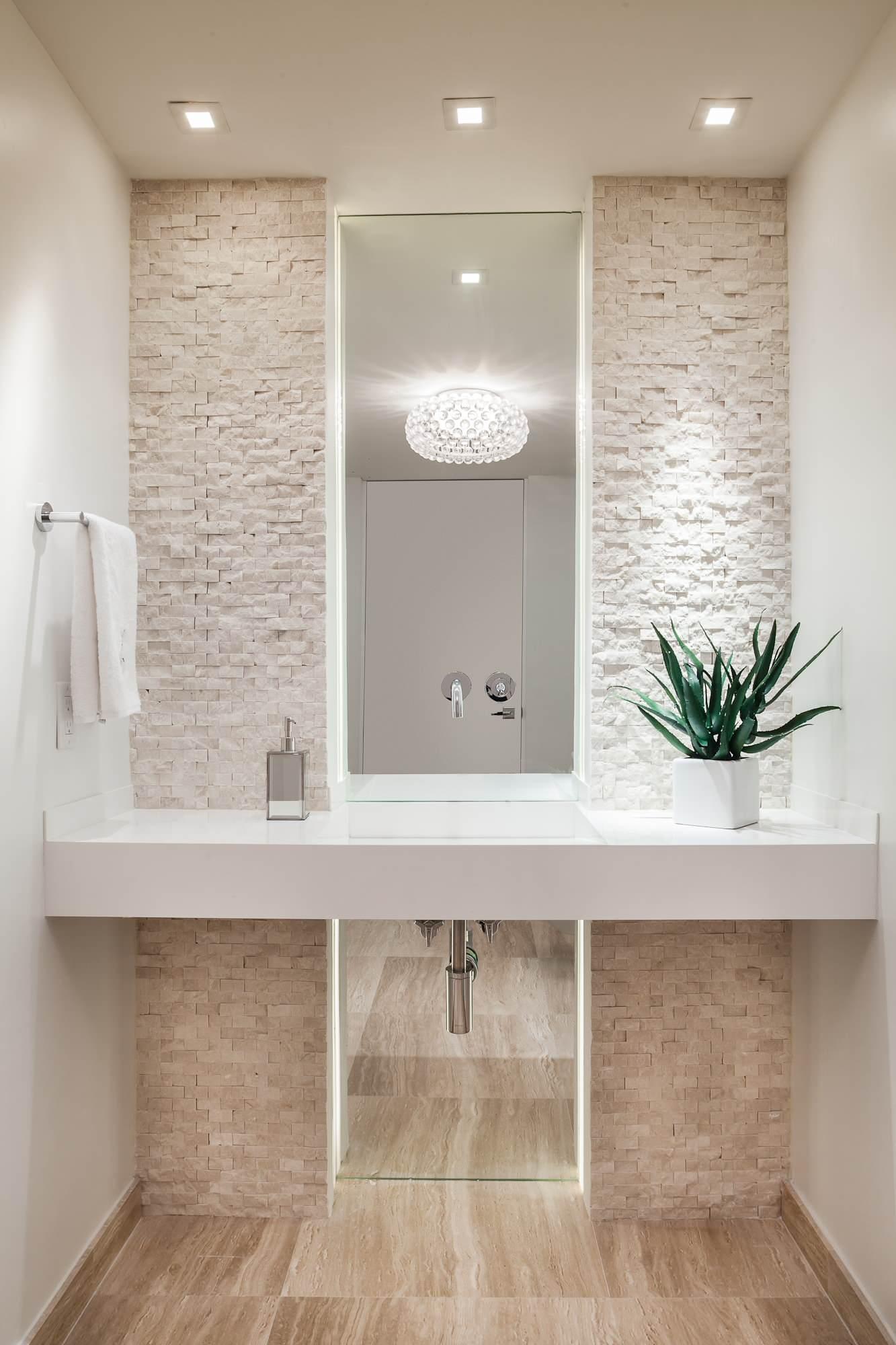 Contemporary Powder Room All White Cream Stone Accent Wall Ideas Cobblestone Washroom Bathroom Modern Organic Style Living Home Decor