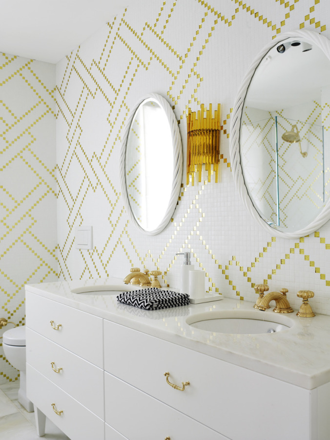 gold and white wallpaper bathroom with double vanity custom gold hardware for dresser knobs hot and cold water fixtures save money renovating marble sink modern eclectic style decor master bath