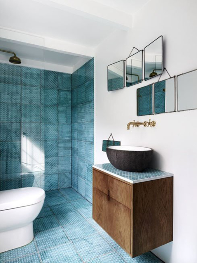 how to save money bathroom rmeodel renovation green turquoise brown earth modern master bath bathroom honeycomb tiles
