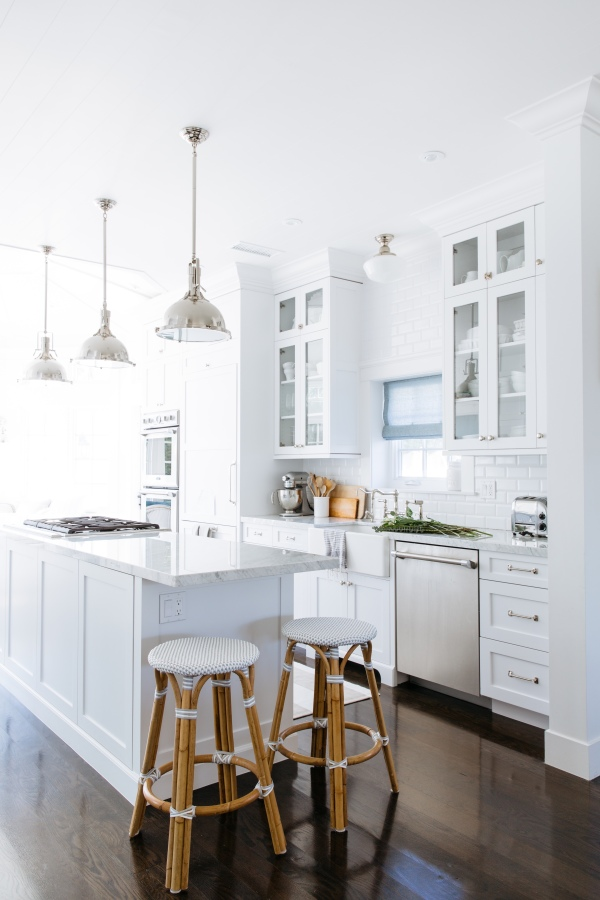 kitchen barstool light cabinets cottage pendant white cafe furniture room contemporary indoors home table architecture window interior design dwelling white cabinets