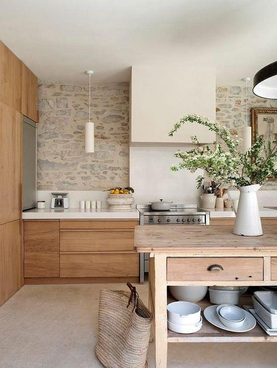 natural stone wall in kitchen backsplash rock exposed country cozy cottage look with light washed wood organic decor inspiration rustic italian tuscany kitchen