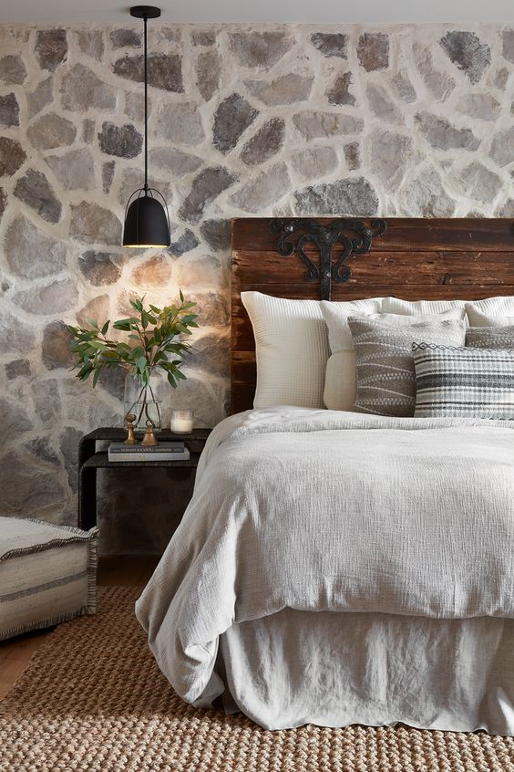 rustic natural stone accent wall headboard bedroom cottage ski chalet style decor lodge inspiration cozy