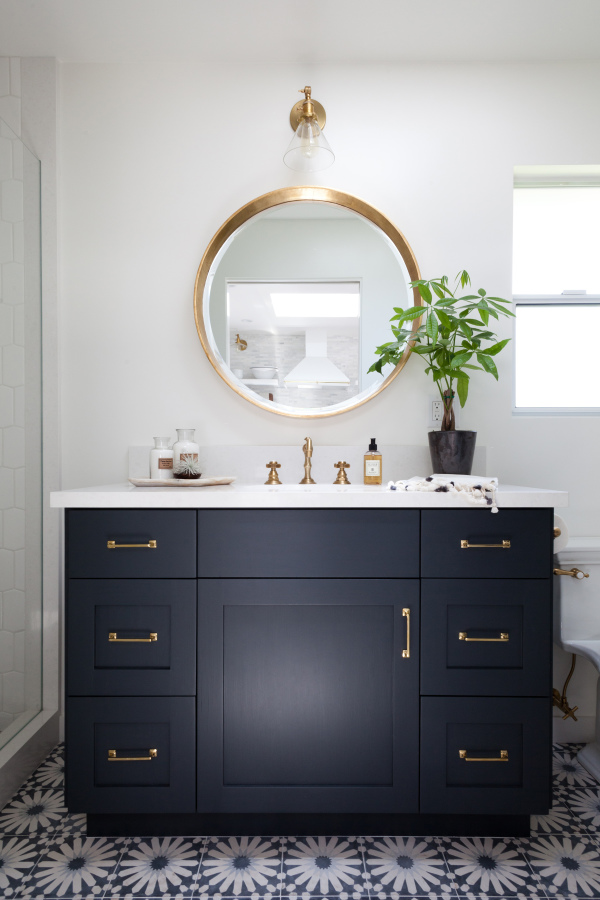 save money on renovation remodel Bathroom, Navy Blue Walls, Home Tour, Interior Design, Contemporary, Room, Faucet, Luxury, Indoors, Furniture, Toilet, Shower, Bathtub, Mirror, vanity Tub, Stainless Steel,