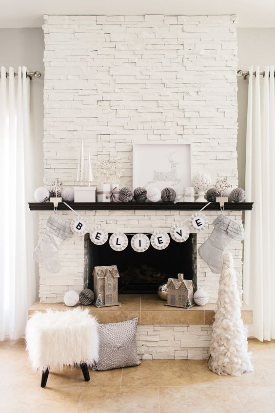 stone fireplace white cozy decor home apartment electric fire place ideas christmas decorating mantle