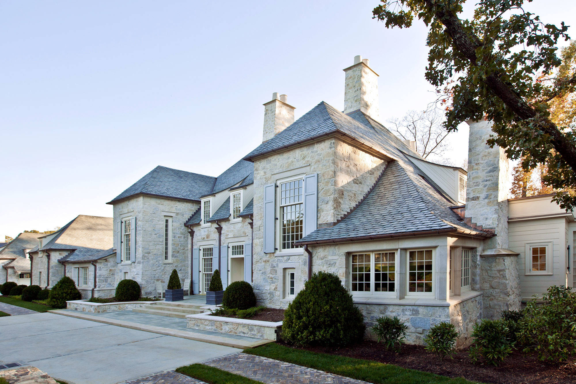 Stone French House Exterior Manor Residence Design Ideas Wide Lot