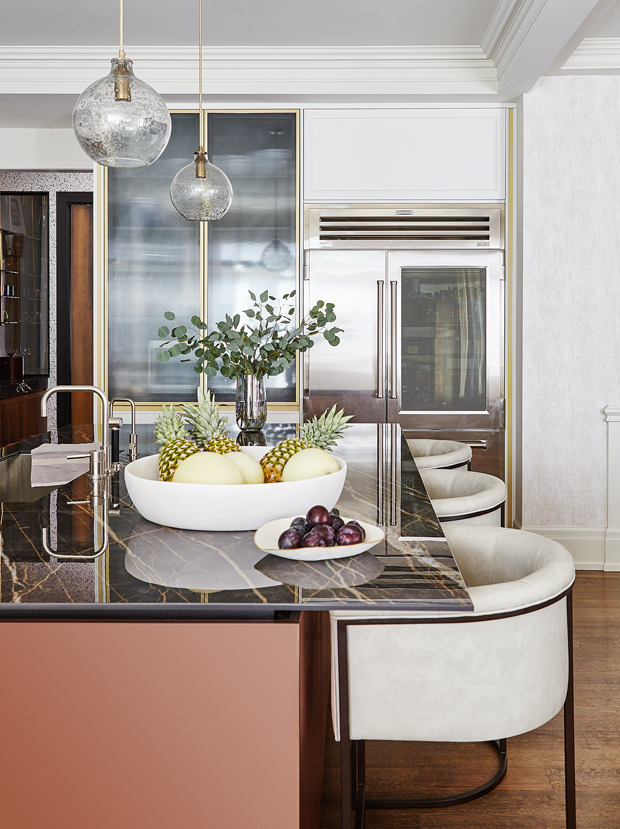 gold and white kitchen modern eclectic style with black marble quartz countertop idea bar stool chair decor home