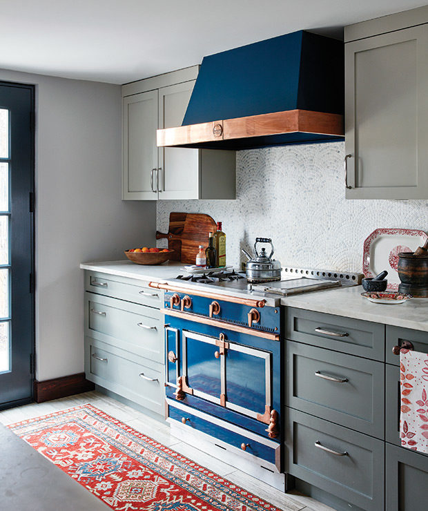 gray and navy blue kitchen old fashioned stove victorian manhattan townhouse brownstone style