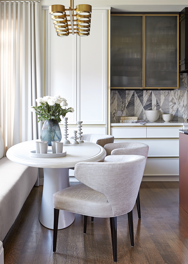 taupe kitchen white and gold black vein marble window bench round modern table style home glam