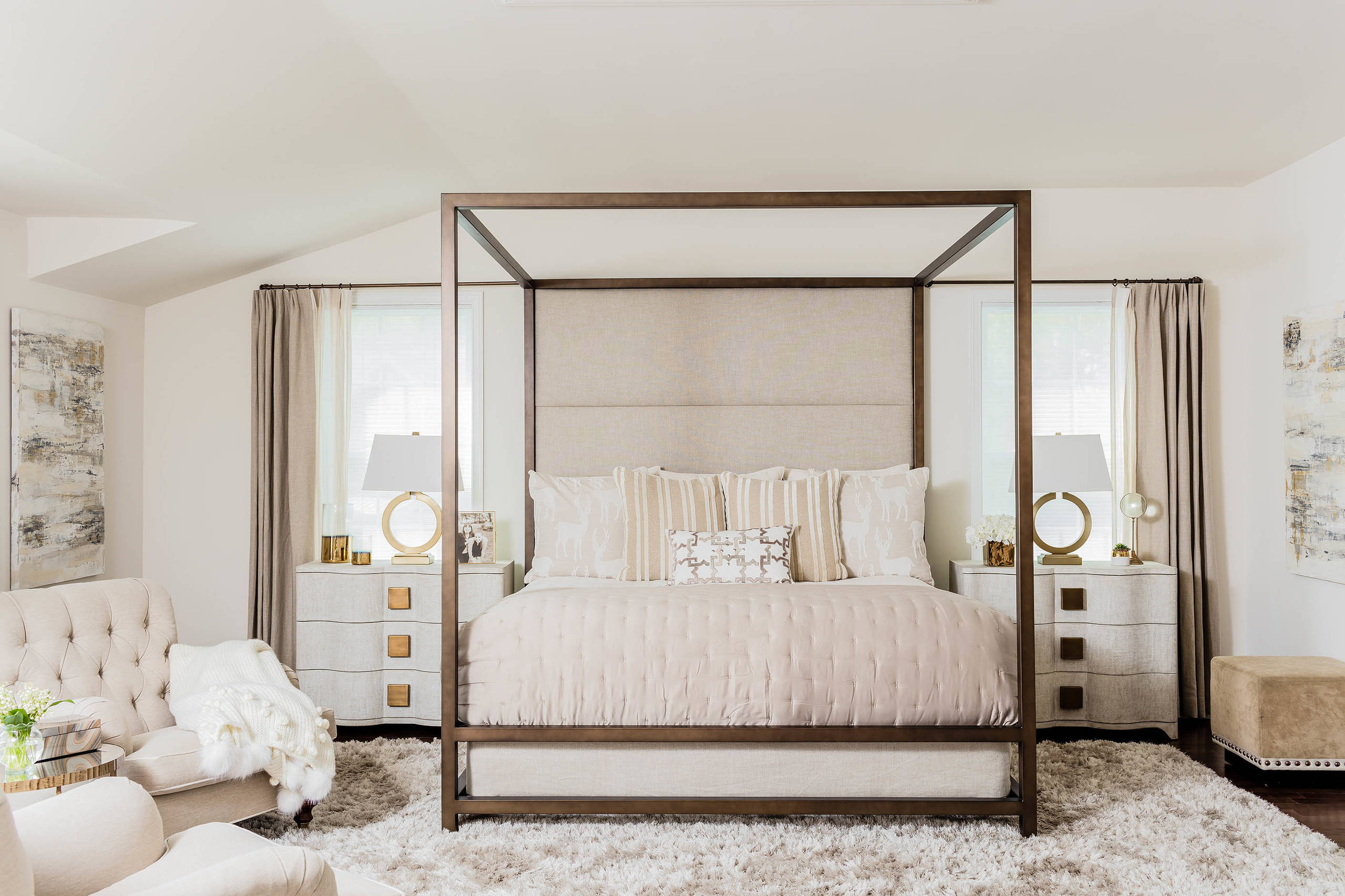 transitional-bedroom four poster bed copper off white warm cream color palette glam bedroom ideas gold side table traditional furniture feminine neutral unisex decor shop room ideas
