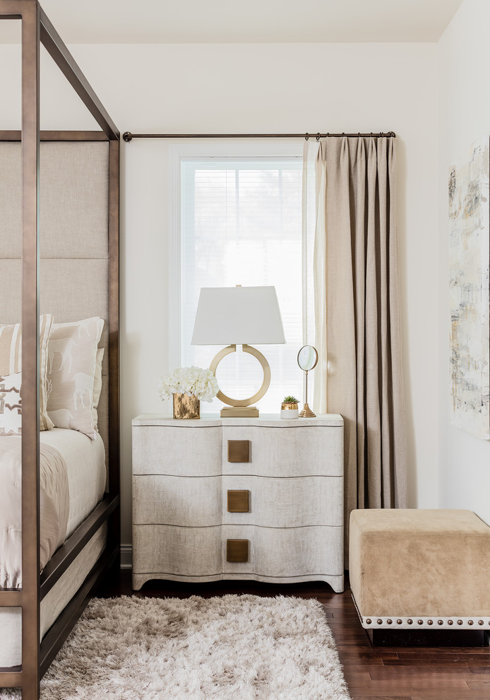 transitional-bedroom traditional furniture girly feminine side table cream off white interior design style glam glamorous luxury bedroom ideas shop room ideas neutrals gold crcle lamp