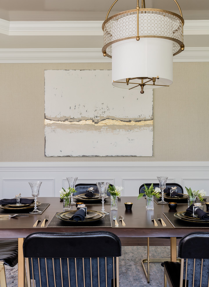 transitional-dining-room-black leather dining chairs eating area modern traditional gold artwork shop room ideas glam glamorous luxury style modern kitchen 60's 60's 80's style