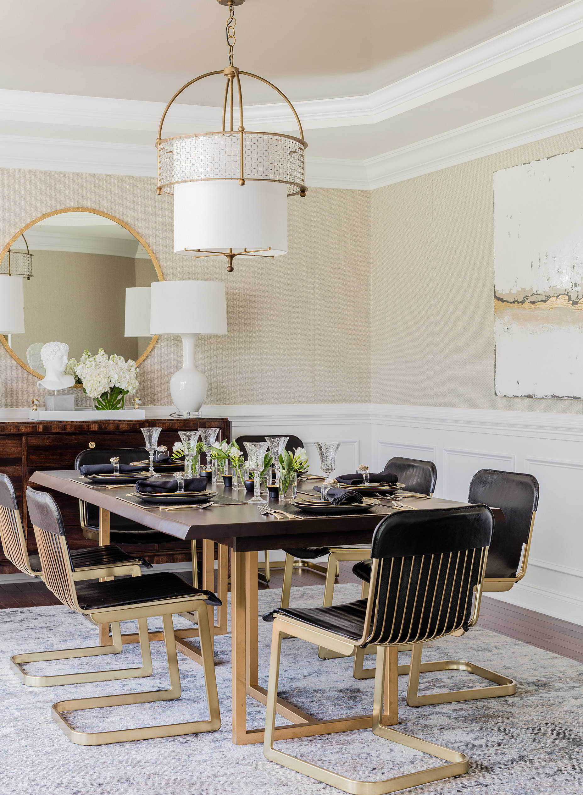 transitional-dining-room-modern glamorous eclectic kitchen dining chairs black leather gold table circle gold mirror buffet design