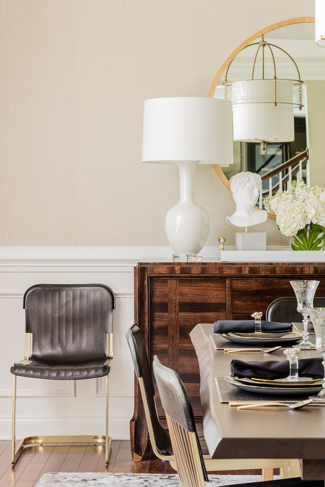 transitional-dining-room wood cedar buffet black and gold dining kitchen leatehr chairs velvet