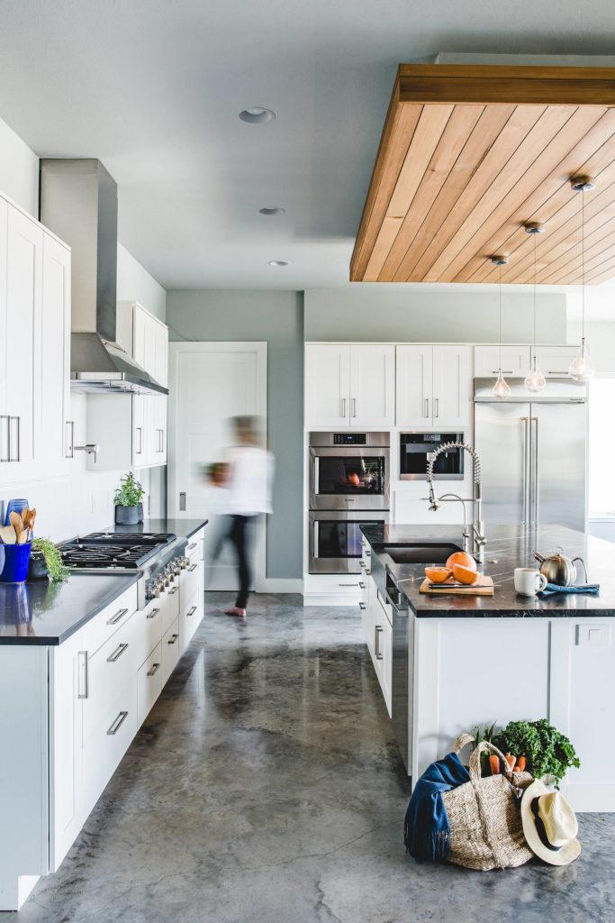 polished concrete kitchen floor modern home interior