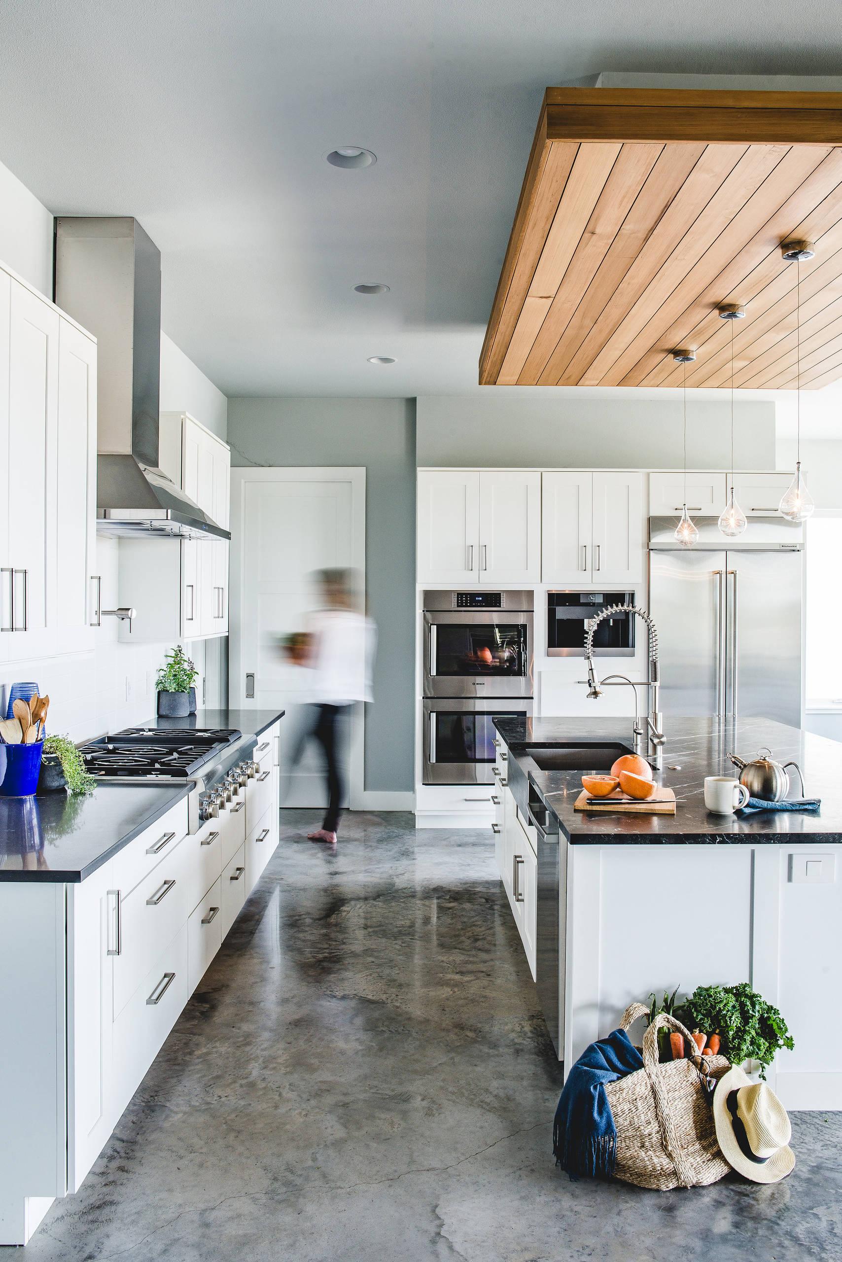 Polished concrete kitchen floor modern home interior design indianapolis cocnrete artisans solid concrete decorative shop room ideas