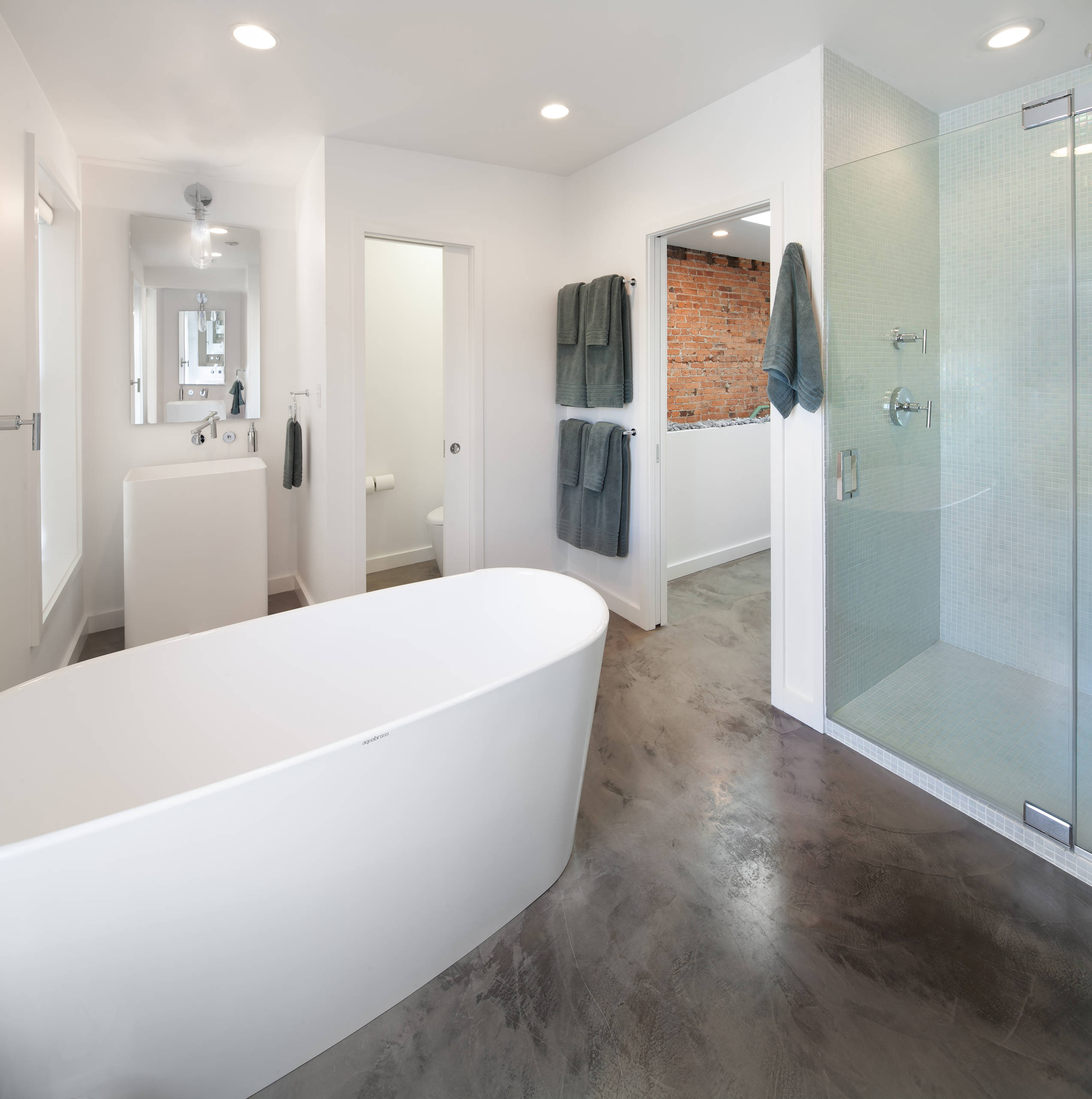 industrial bathroom solid concrete stained polished flooring floor ideas indianapolis concrete artisans modern style