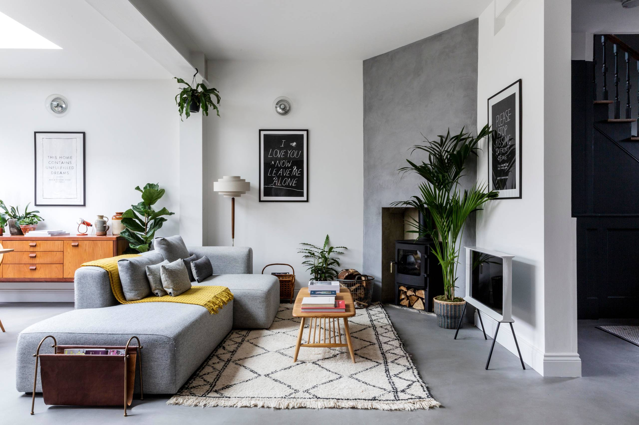 scandinavian-living-room concrete flooring stamping polished stained solid floors indianapolis conrete artisans shop room ideas modern grey gray and white