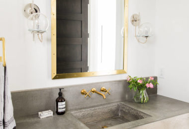 transitional powder room decorative concrete sink vanity solid concrete with gol mirror modern contemporary style powder room stained polished indianapolis concrete artisans