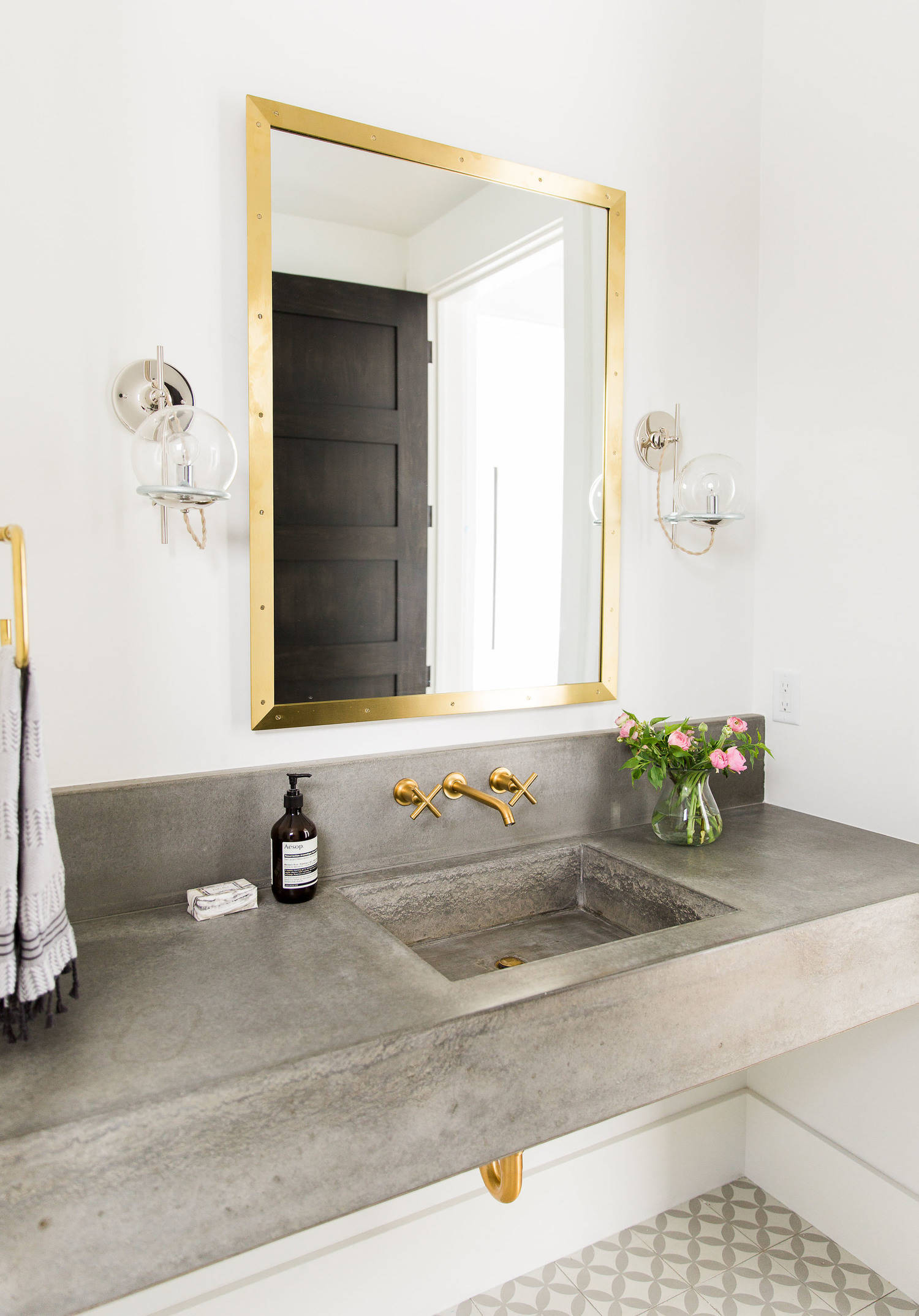 Transitional Powder Room Decorative Concrete Sink Vanity Solid Concrete With Gol Mirror Modern Contemporary Style Powder Room Stained Polished Indianapolis Concrete Artisans Shop Room Ideas