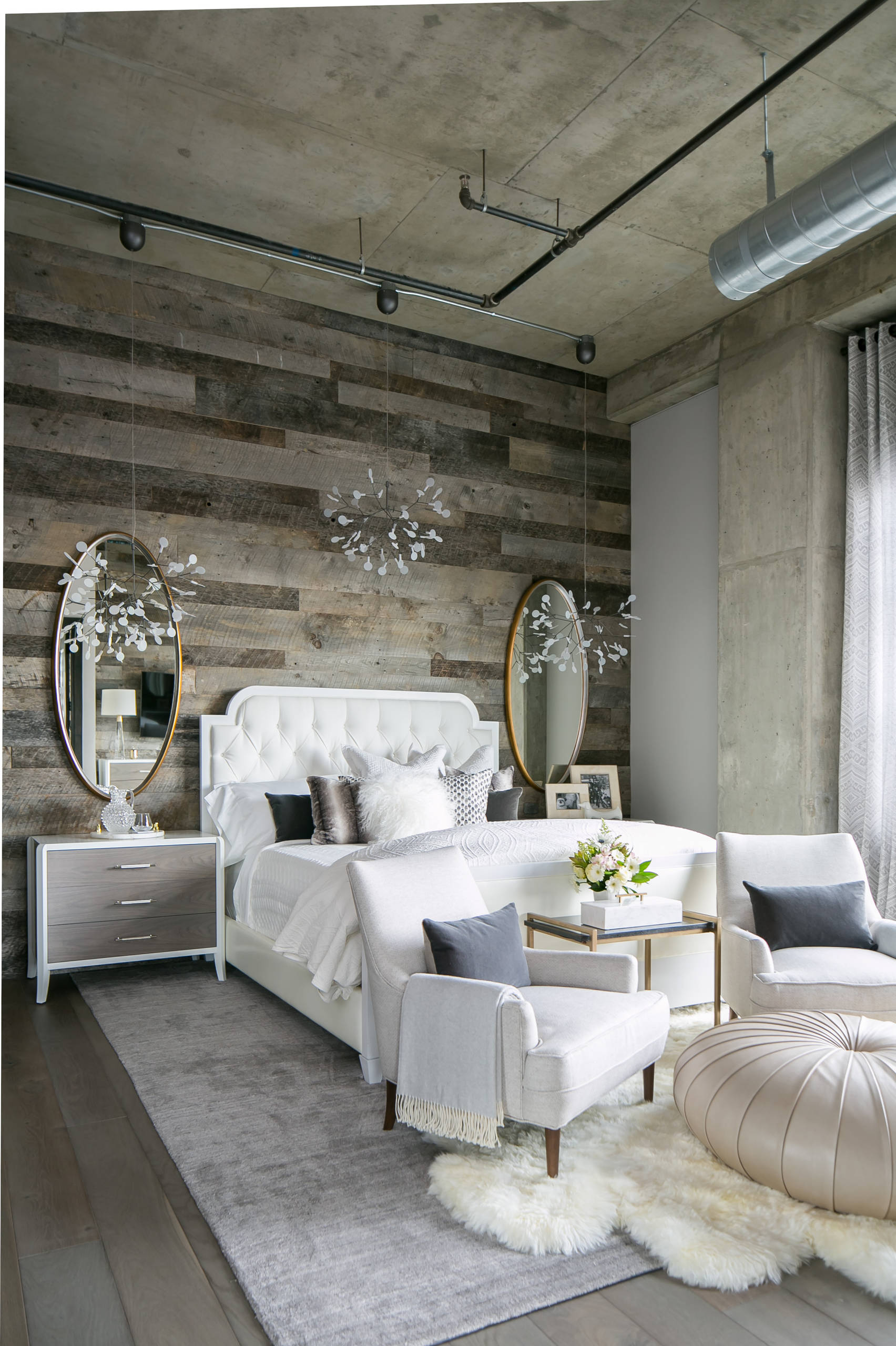 industrial-bedroom feminine shabby chic french modenr country farmhouse wood plank refined wall ideas shop room ideas